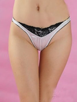 Black Lace Patchwork Silk Like Womens Thongs