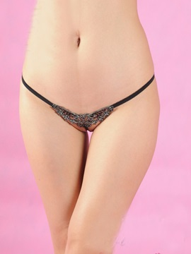 Polished Silver Embroidery Women Panties Thongs