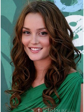 Long Curly Hairstyle Human Hair Lace Front Wig 16 Inches