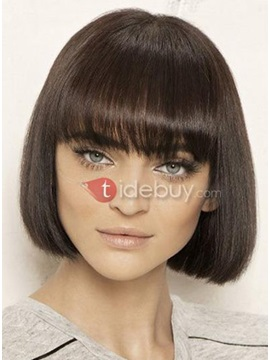 Typical Front Straight Bob Haircut 100 Human Hair Mono Top Wig 10 Inches