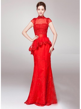 Sumptuous High Neck Cap Sleeves Mermaid Appliques Floor Length Evening Dress