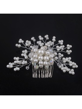 Eye Catching Crystal Pearl Flower Dish Hair Comb Wedding Brides Hair Flower