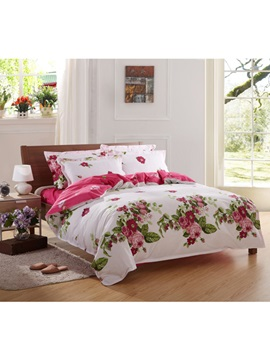 Eye Catching Red Rose Flower And Green Leaves Print 100 Cotton 4 Piece Bedding Sets