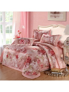 Loveable Pink Rose Flower Print Jacquard 100 Cotton 4 Piece Bedding Sets