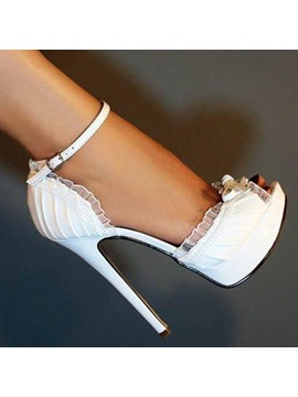 Elegant Pu Peep Toe Ankle Strap High Heel Shoes Wedding Shoes