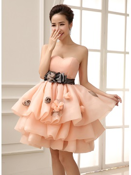 Loveable Sweetheart Bowknot Flowers Tiered Short Length Sweet 16 Dress