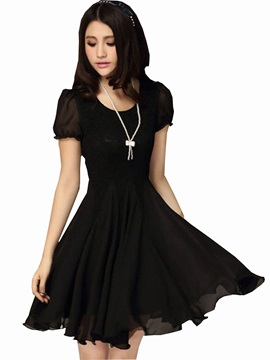 Stunning Slim Patchwork Short Sleeve Chiffon Lace Dress