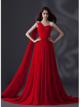 One Shoulder A Line Crystal Pleats Lace Up Chapel Train Long Evening Dress