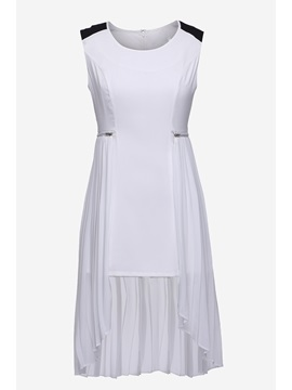 White Sleeveless High Low Fake Two Piece Short Day Dresses With Zipper