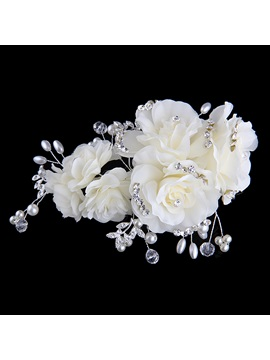 Beautiful Flowers Crystal Pearls Bride Bridesmaid Hair Flower