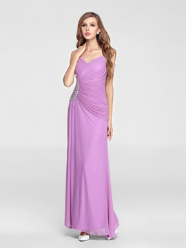 A Line V Neck Straps Beading Floor Length Enchanting Evening Party Dress