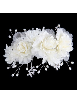 Pearl Silk Yarn Flowers Updo Sculpt Wedding Bride Bridesmaid Hair Flower