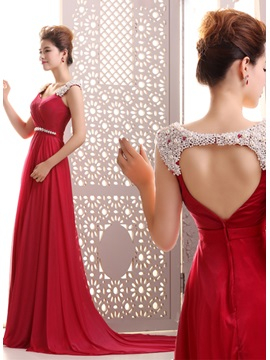 Courtlike A Line Pearls Beading Backless Court Train Long Evening Dress