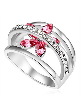 New Popular Crystal Flower Alloy Womens Ring