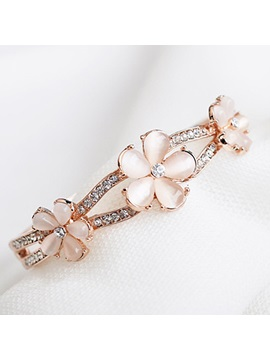 All Matched Opal Flower Rhinestone Alloy Bangle