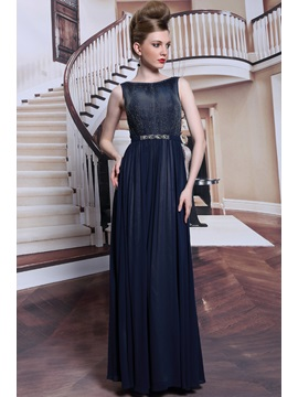 Popularable Bateau Floor Length Crystal Zipper Up Sleeveless Evening Dress