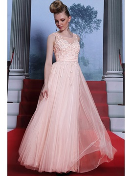 Eye Catching A Line Scoop Tulle Neck Appliques Sleeveless Prom Dress