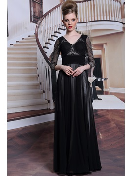 Vintage V Neck 3 4 Length Sleeves Embroidery Zipper Up Long Evening Dress