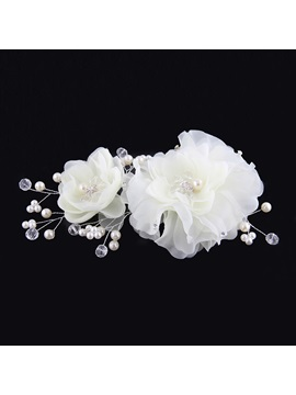 Ladylike Double Flowers Diamond High Grade Manual Bridal Headpiece With Pearl