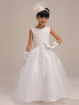 Cute Sleeveless Zipper Up Floor Length Bowknot Flower Girl Dress