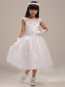 Cute Scoop Neck Up Tea Length Bowknot Applique Beading Flower Girl Dress