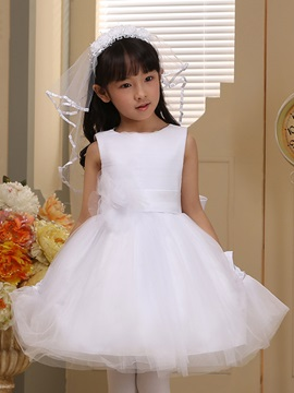 Cute Scoop Neck Flower Up Knee Length Bowknot Flower Girl Dress