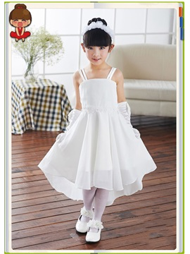 Cute Spaghetti Straps Zipper Up Asymmetry Flower Girl Dress
