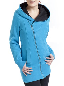 Casual Solid Color Zipper Pided Pocket Long Sleeve Hoodie