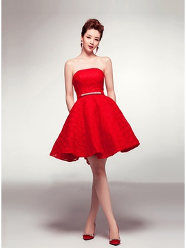 Modern A Line Sash Lace Short Length Lace Up Homecoming Dress