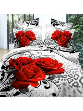 Unique Leopard Rose Printed 4 Piece Cotton Bedding Sets