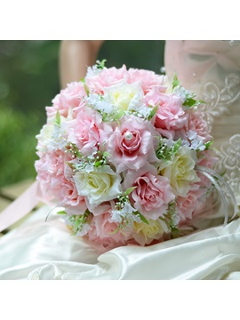 Best Cloths Pink And Ivory Flowers Wedding Bouquet