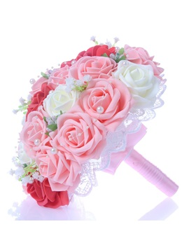 Best Lace Pearl Red White Pink Rose Starry Sky Wedding Bouquet