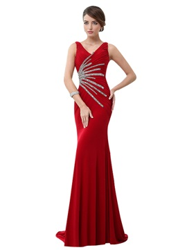 V Neck Mermaid Beading Pleats Sweep Train Long Evening Dress