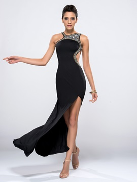 Sexy Backless Sheath Hollow Beading Split Front Long Black Evening Dress