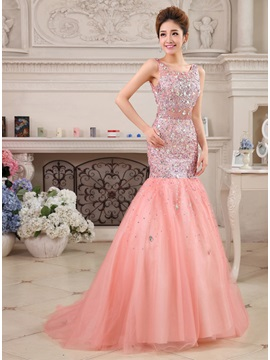 Great Mermaid Straps Sequins Beading Sweep Train Long Evening Dress