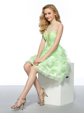 New Style Tulle Neckline Beading Flowers Backless Short Homecoming Prom Dress
