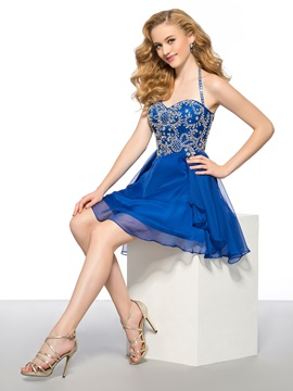 Modern A Line Rhinestone Halter Short Homecoming Dress