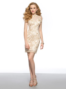 Delicate Column Lace Tulle Back Sequins Short Homecoming Cocktail Dress