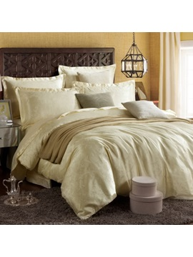 Beige Jacquard 4 Piece Bedding Set