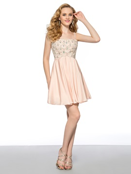 A Line Spaghetti Straps Crystal Beading Short Homecoming Prom Dress
