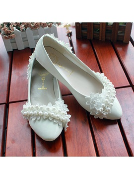 White Lace Wedding Bride Shoes