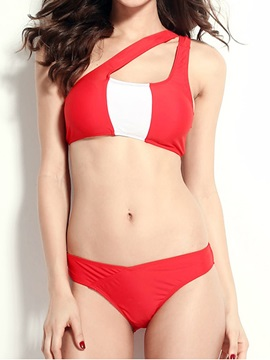 Red Oblique One Shouldered Bandeau Bikini