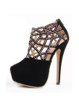 Black Rhinestone Cut Out Stiletto Heel Pumps