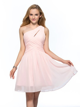 Simple Cheap One Shoulder Ruched A Line Short Homecoming Dress