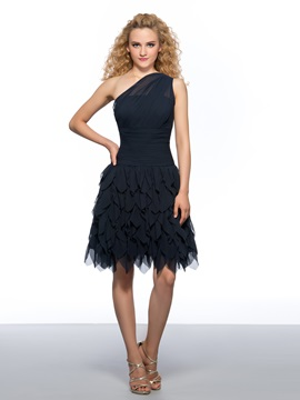 Simple One Shoulder A Line Tiered Pleats Short Homecoming Dress