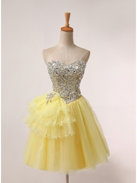 Shiny Sweetheart A Line Beading Lace Up Prom 16 Dress