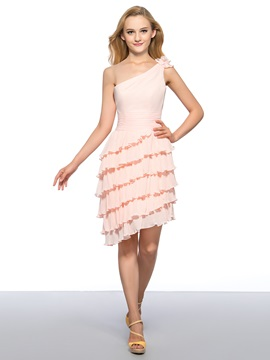 One Shoulder Flower Tiered Ruched Asymmetrical Homecoming Dress