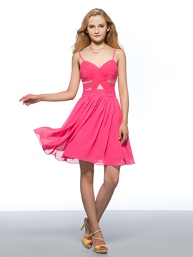 Modern Spaghetti Straps Sweetheart Ruched Chiffon Short Homecoming Dress
