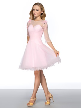 Pure A Line Half Sleeves Bowknot Beading Knee Length Homecoming Dress