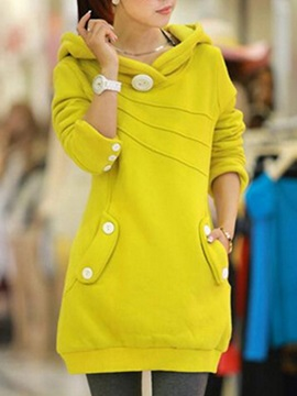 New Multi Color Chic Buttons Casual Sheath Hoodie